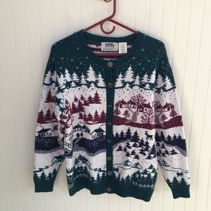 Vintage Winter Scene Cardigan Sweater Womens Small